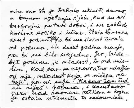 Facsimile of mesa selimovic's handwriting